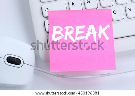 Break work lunch working relax office computer keyboard - stock photo
