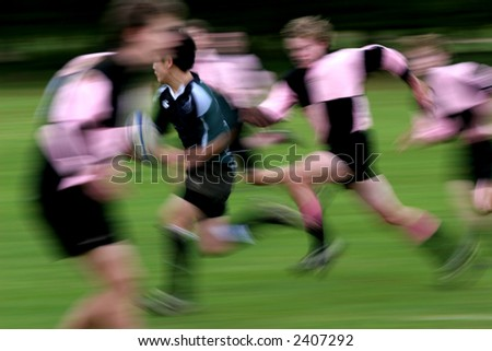 Breakaway Try in a Rugby match - stock photo