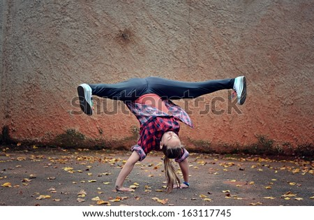 Breakdance girl - stock photo