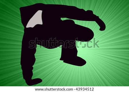 Breakdancer Dancing with mittens Silhouette illustration. - stock photo