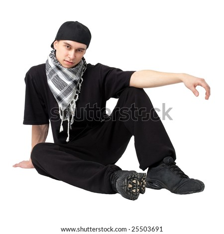 Breakdancer sitting against isolated white background - stock photo