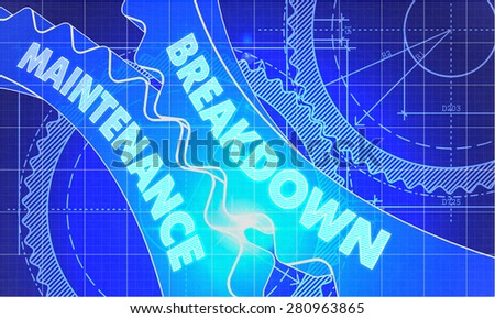 Breakdown Maintenance on Blueprint of Cogs. Technical Drawing Style. 3d illustration with Glow Effect. - stock photo