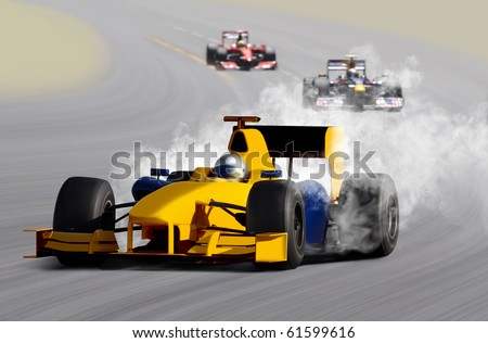 breakdown of formula one race car on speed track - stock photo