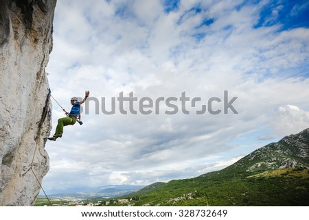 breakdown on a rock. Climbing in Croatia - stock photo
