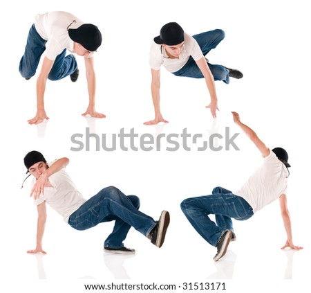 Breaker dancing hip hop. Four different positions of the same dance - stock photo