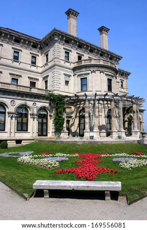Breakers, built by Cornelius Vanderbilt of the Gilded Age, as seen on the Cliff Walk, Cliffside Mansions of Newport Rhode Island   - stock photo