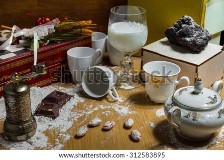 Breakfast and chocolate - stock photo