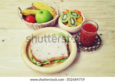Breakfast and Healthy food in vintage style - stock photo