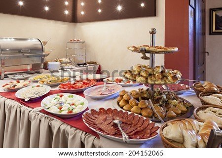 Breakfast at the hotel. Breakfast Buffet.  - stock photo
