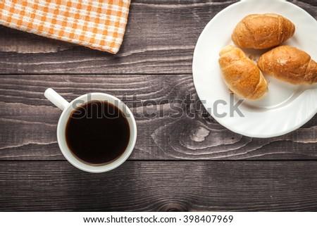 breakfast, breakfast with coffee, breakfast with croissant, morning breakfast, tasty breakfast, delicious breakfast - stock photo