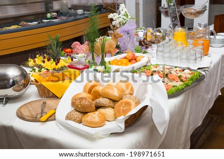 Breakfast buffet at restaurant or hotel - stock photo
