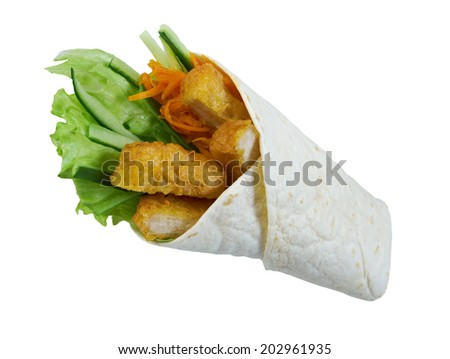 Breakfast burritos  made with chicken nugget.Isolated - stock photo