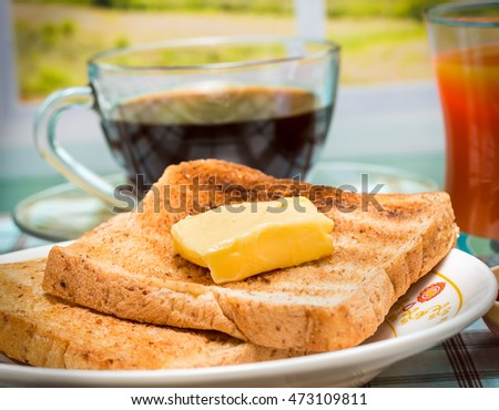 Breakfast Butter Toast Representing Toasted Bread And Restaurant