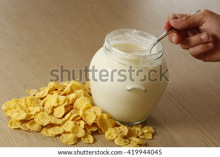 breakfast cereal and yougurt