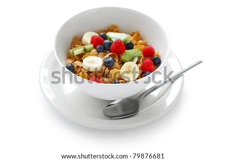 breakfast cereal with fresh fruits - stock photo