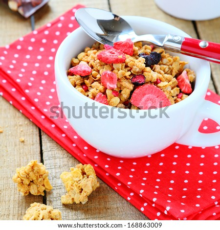 breakfast cereal with fruit, granola, food closeup - stock photo