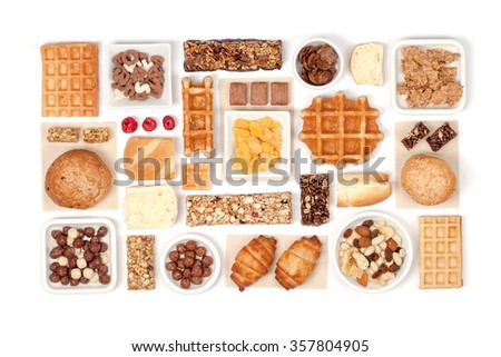 breakfast cereals on white background