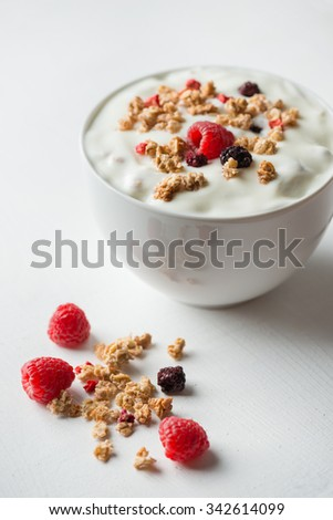 Breakfast cereals with yogurt - stock photo