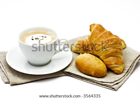 Breakfast, coffee, croissant - stock photo