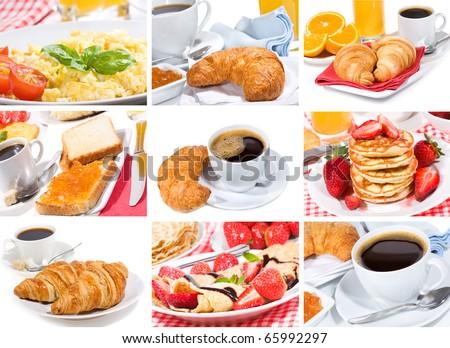 breakfast collage - stock photo
