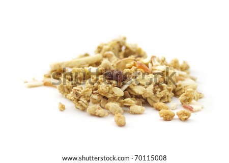 Breakfast concept : muesli cereals  isolated on white background - stock photo