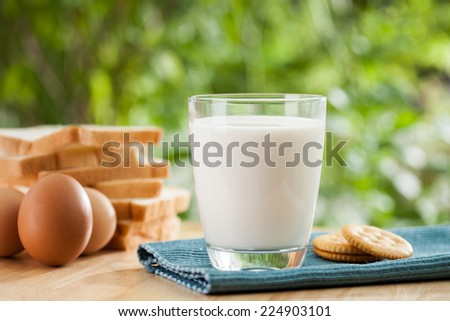 breakfast concept with fresh eggs,milk glass and bread