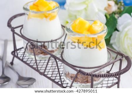 Breakfast dessert with bran flakes, plain yogurt and mango, in iron tray, closeup - stock photo
