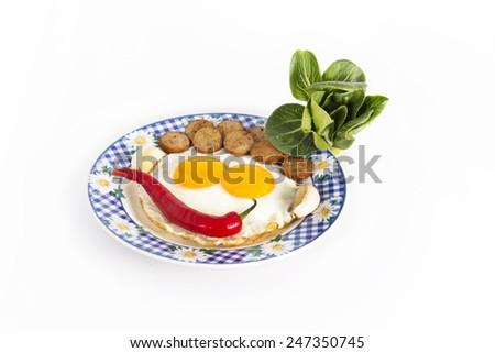 breakfast egg, hot dog, chili and vegetable - stock photo