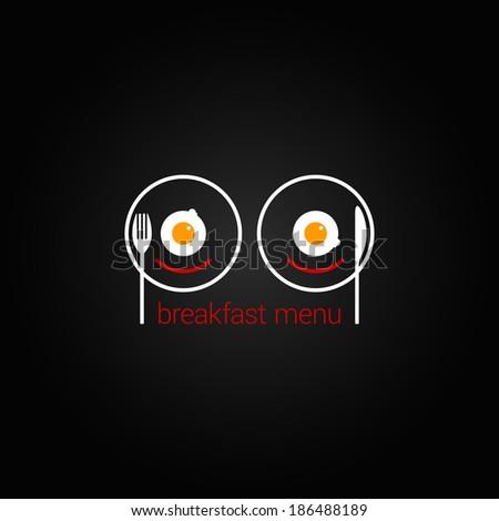 breakfast food scrambled menu design background illustration - stock photo