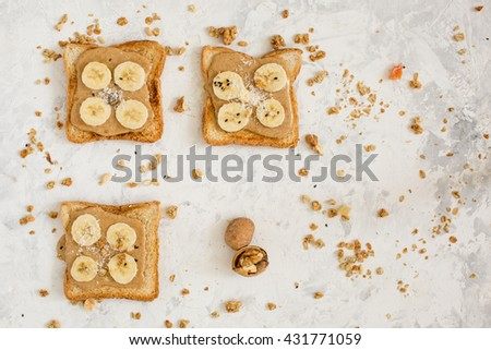 Breakfast. Fresh fruits and berries. Delicious toast.  - stock photo