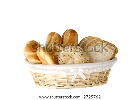 Breakfast, fresh home baked whole wheat bread and bread rolls, photographed over white.  Nutrition, food concept. - stock photo