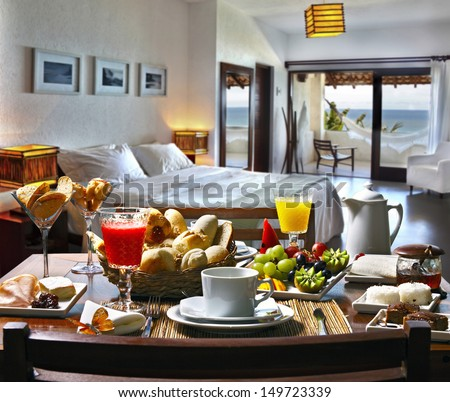 Breakfast hotel - stock photo
