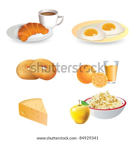 Breakfast icon set - cheese, coffee, croissant, eggs, bagels,  fruit - stock photo
