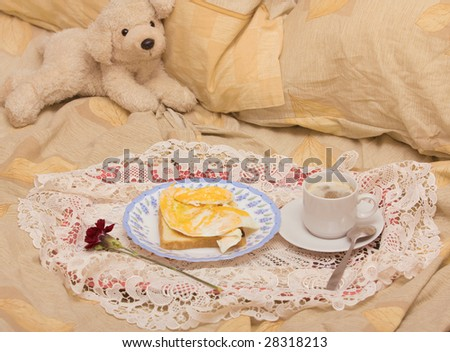 breakfast in a bed - stock photo