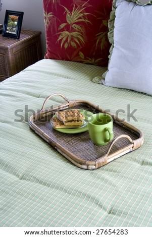 breakfast in bed - stock photo