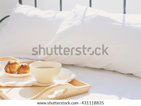 breakfast in bed - stock photo