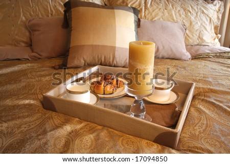 Breakfast in bed ( luxurious, interior) - stock photo