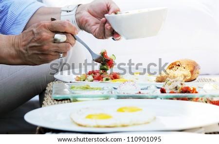 breakfast in outdoor cafe - stock photo