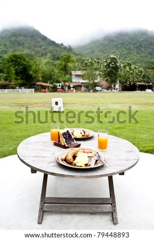 Breakfast in the hill - stock photo