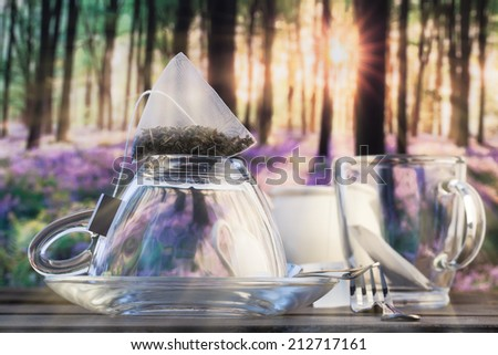 Breakfast in the woods at sunrise with a glass cup of tea on a table and a teabag - stock photo