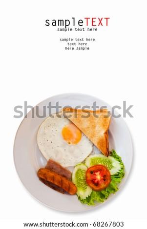 Breakfast isolated on white background - stock photo