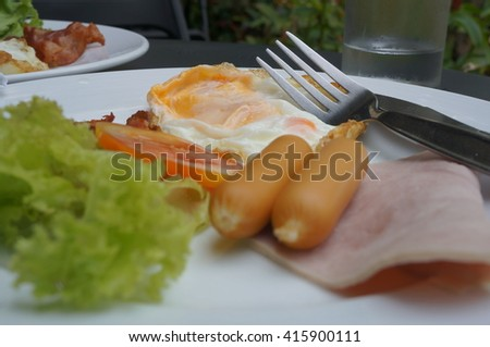 breakfast meal plate ham eat cooked toasted  - stock photo
