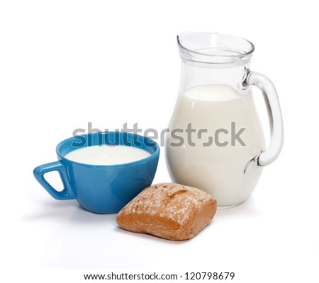 Breakfast: milk in pitcher and rustic roll