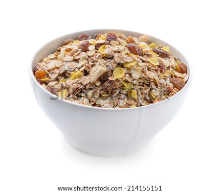 Breakfast - milk with chocolate corn flakes cereal in bowl - stock photo
