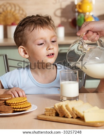 Breakfast of child - stock photo