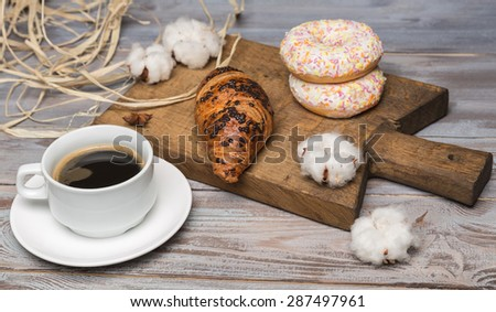 breakfast of coffee - stock photo