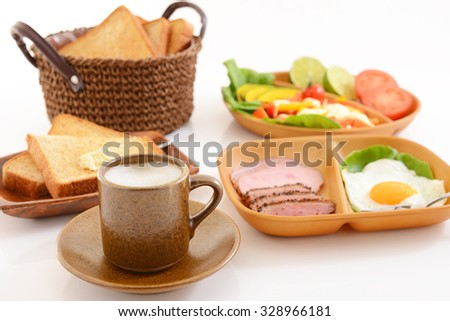 Breakfast of coffee and breads