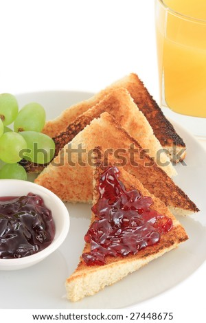 Breakfast of grape jelly and toasts - Macro