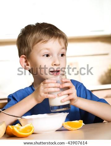 Breakfast of little boy - stock photo