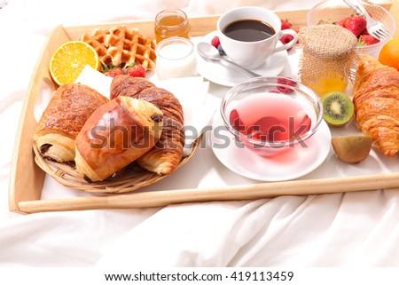 breakfast on bed - stock photo